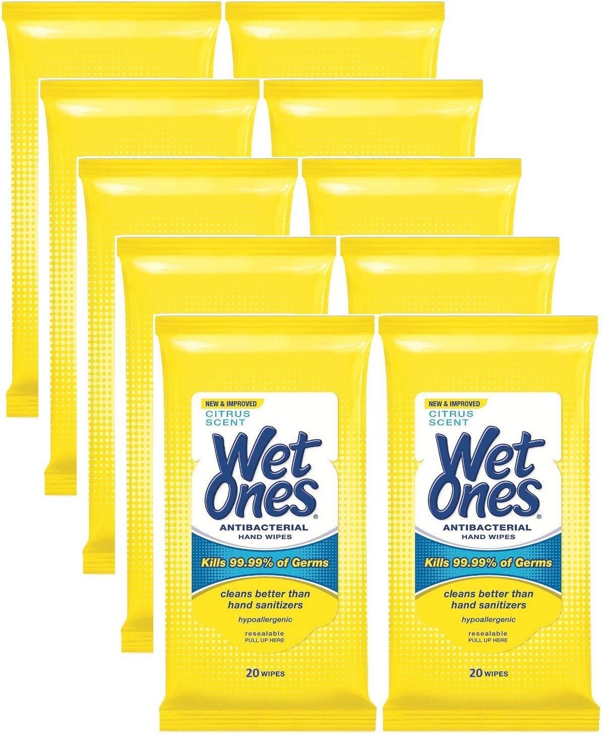 Wet Ones Antibacterial Hands & Face Wipes, Citrus Scent, 20 Count Travel Pack (Pack of 10) 200 WipesTotal