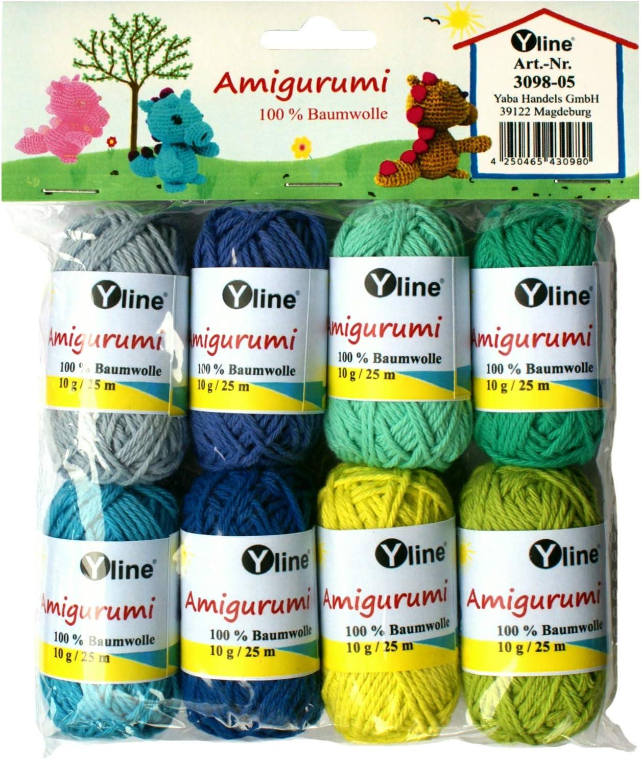 Juego de ovillos de lana Amigurumi de Yline. 10 g, 100% algodón, hilo, lana de punto, hilo de ganchillo, 3098-05: Amazon.es: Hogar