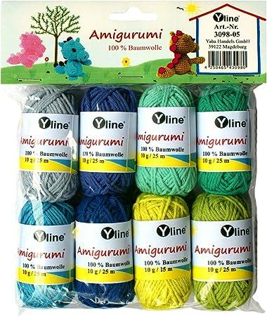Juego de ovillos de lana Amigurumi de Yline. 10 g, 100% algodón ...
