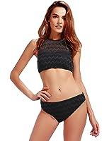 Womens High Neck Halter Bikini Set Swimsuits 2 Pieces Bathing Suits Black