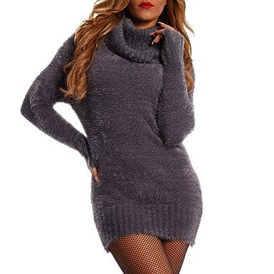 d2c8402b7b Young-Fashion Damen Pullover Kuscheliger Longpullover mit Rollkragen,  Farbe:Graublau;Größe: