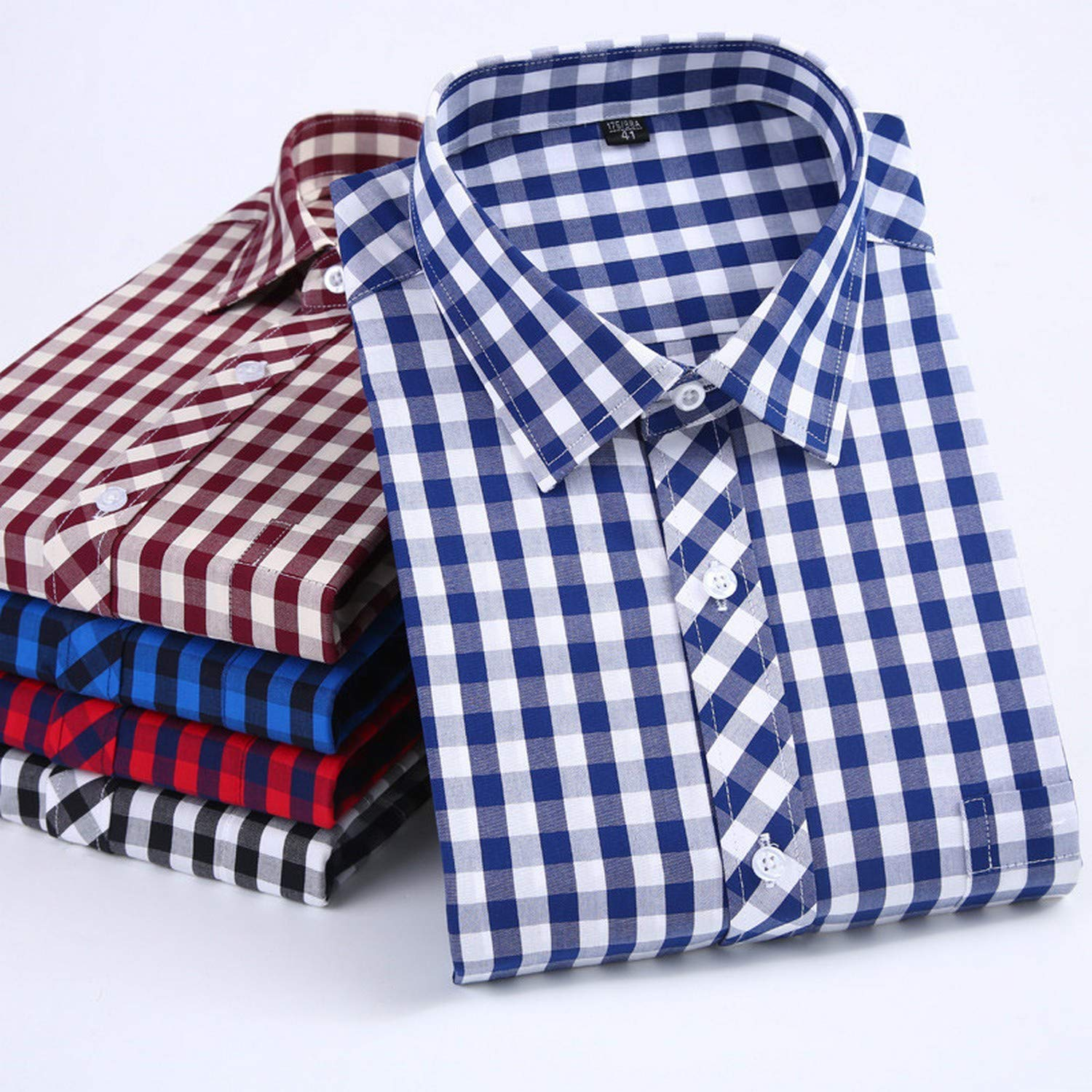 Pure Cotton no Fade no Shrink Regular fit Long Sleeve Classical Male Plaid Casual Shirts
