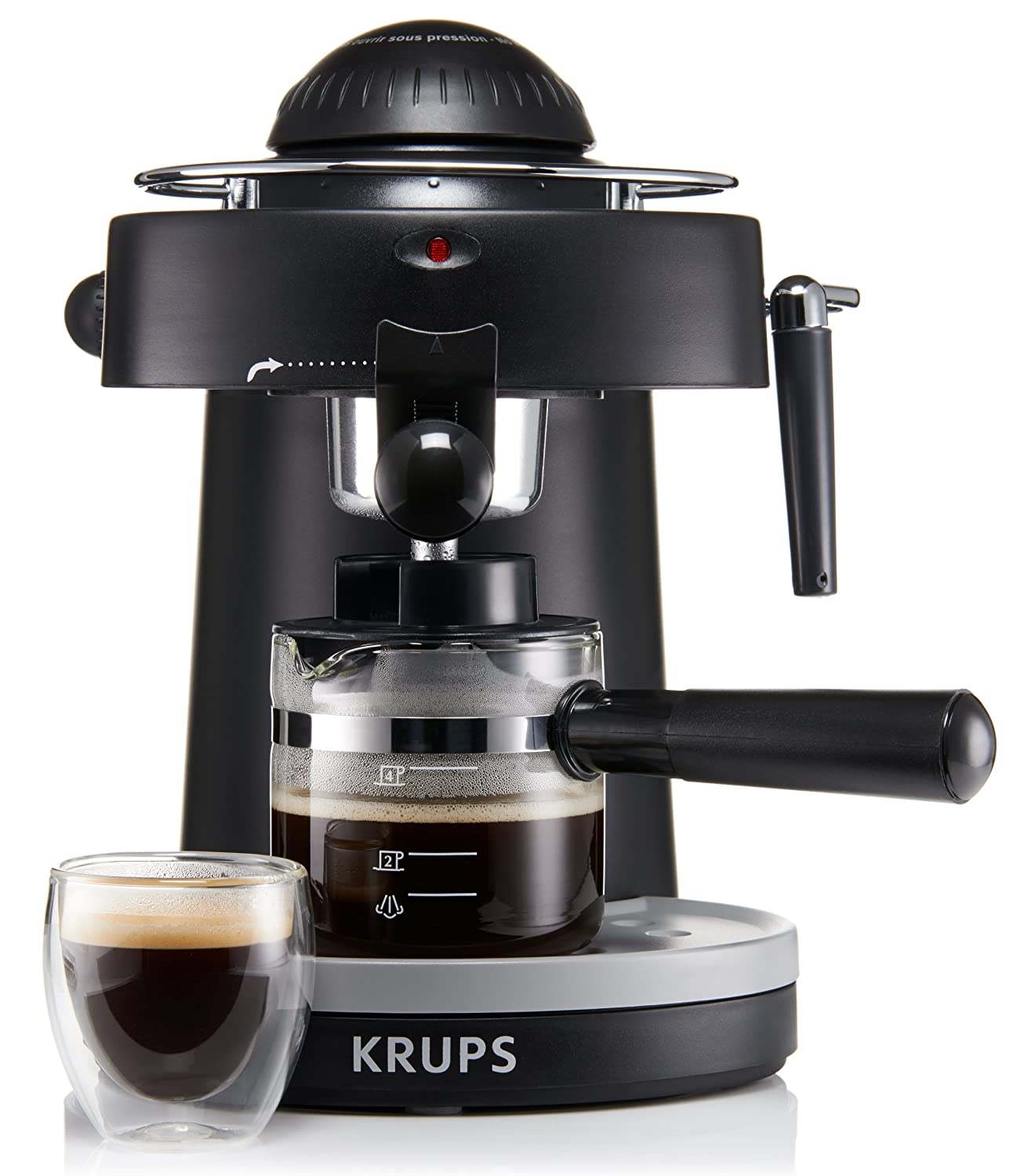 Electronic Steam Coffee Machine amazon com krups xp1000 steam espresso machine with frothing nozzle for cappuccino black kitchen dining