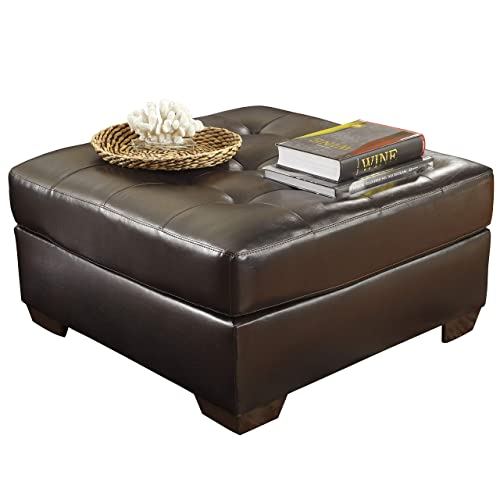 Signature Design by Ashley – Alliston Contemporary Faux Leather Oversized Accent Ottoman, Chocolate