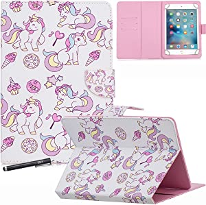 Universal Case for 7.9-8.5'' Tablet, Newshine Colorful Wallet Stand Cover for 7.9'' iPad Mini 1/2/3/4, Galaxy Tab A/E/S2 8.0, Amazon Fire HD 8 and Other Around 8.0 Inch Models - Icecream Unicorn