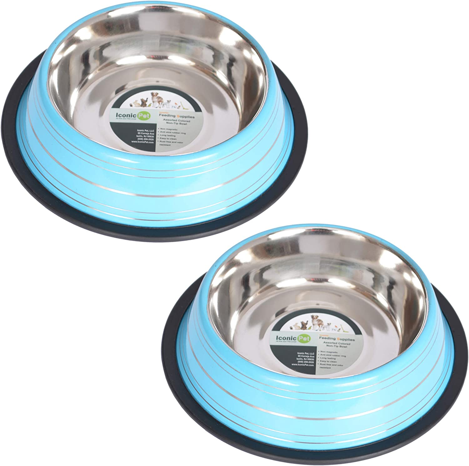 Iconic Pet Elegant 2 Pack Stainless Steel Color Splash Food/Water Bowls with Non Skid Noise Free Rubber Base