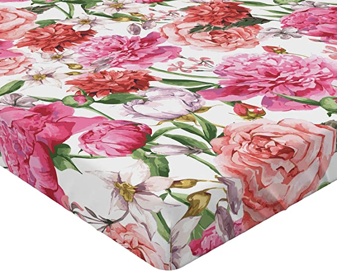 Details about  /Watercolor Flowers Fitted Sheet Cover with All-Round Elastic Pocket in 4 Sizes