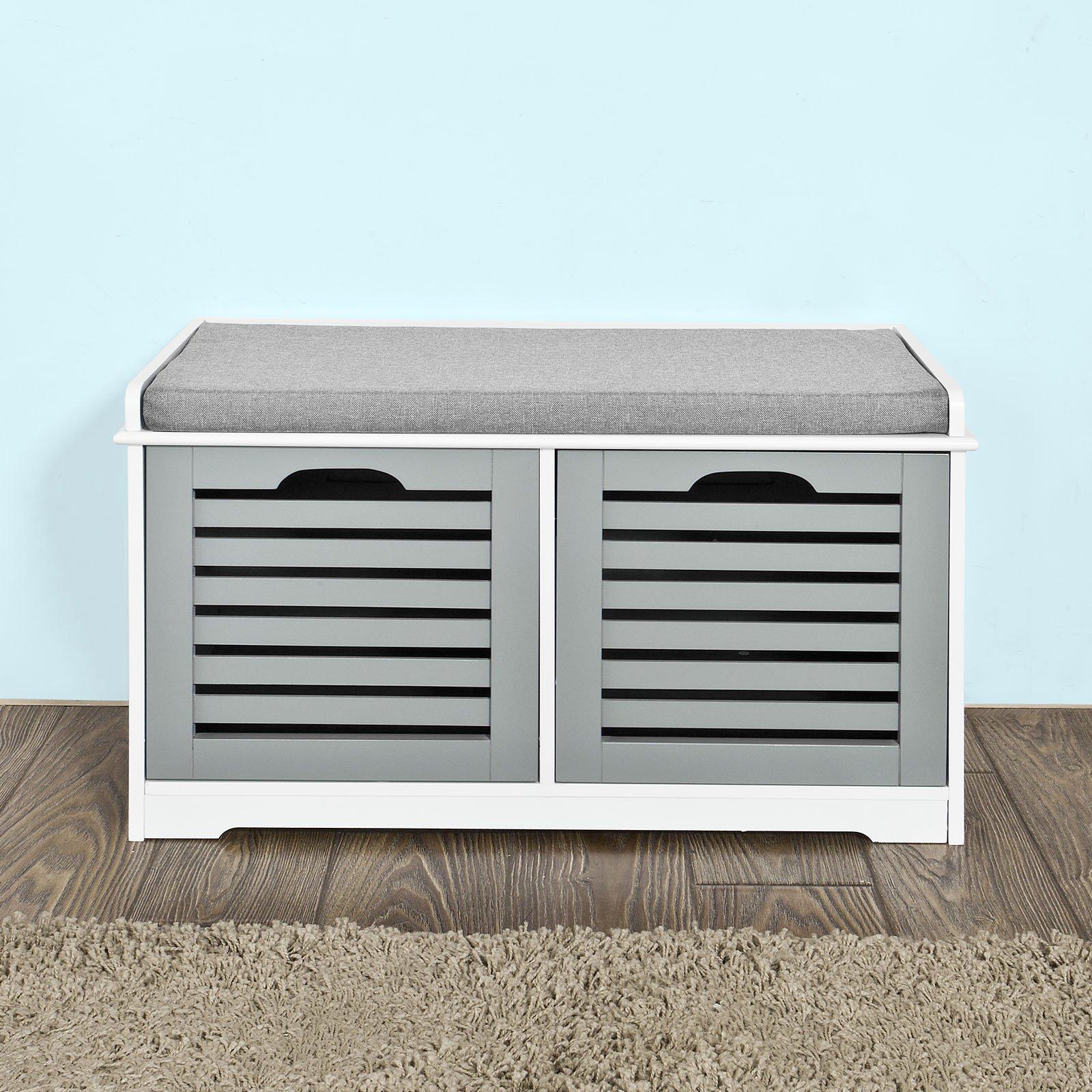 SoBuy Storage Bench 2 Drawers & Removable Seat Cushion, Shoe Cabinet Shoe Bench, FSR23-K-WN