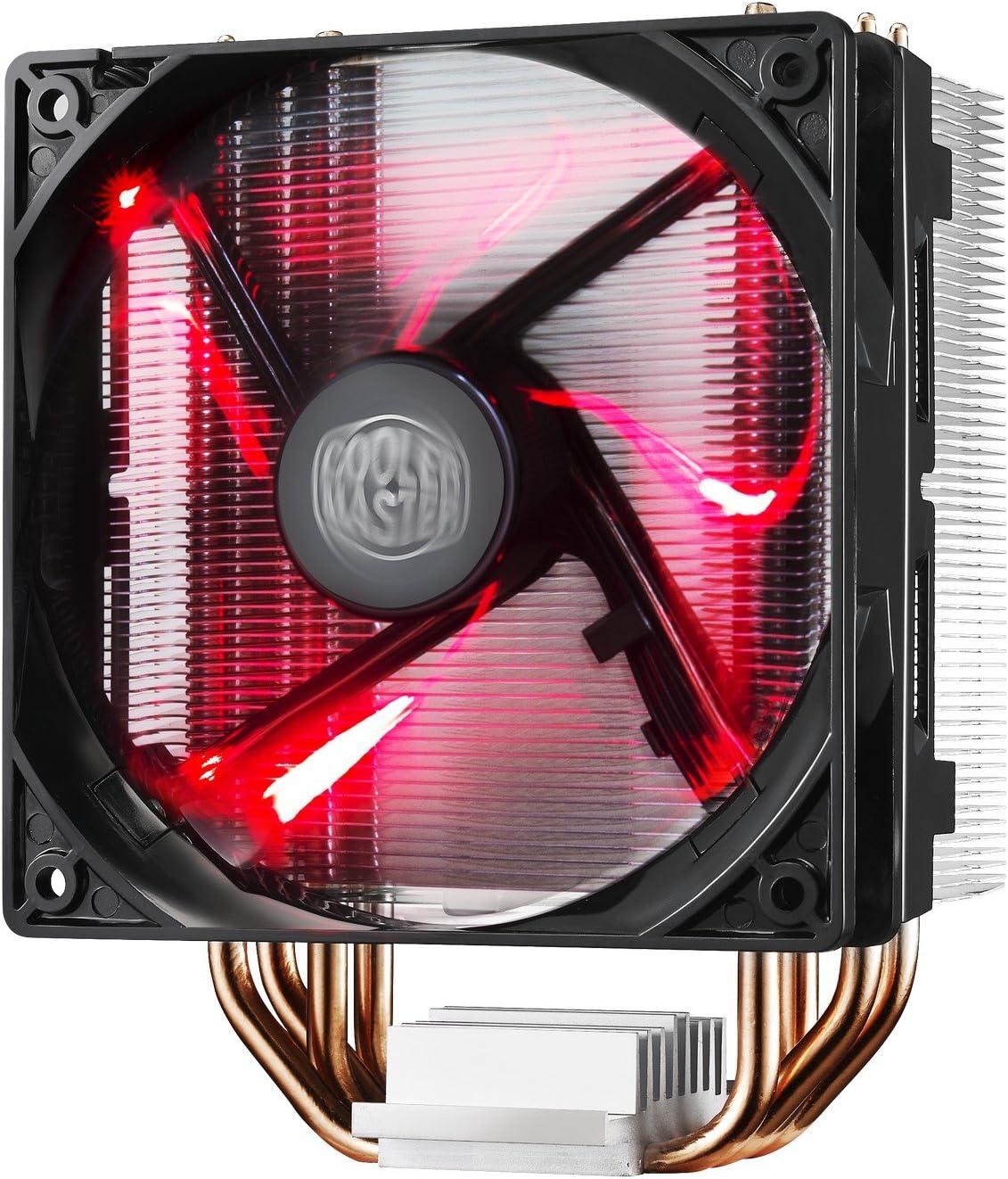 Cooler Master Hyper 212 LED Sistema Refrigeración - Resistente y Versátil - 4 Tubos de Calor Contacto Directo Continuo con Aletas, Ventilador PWM de 120 mm
