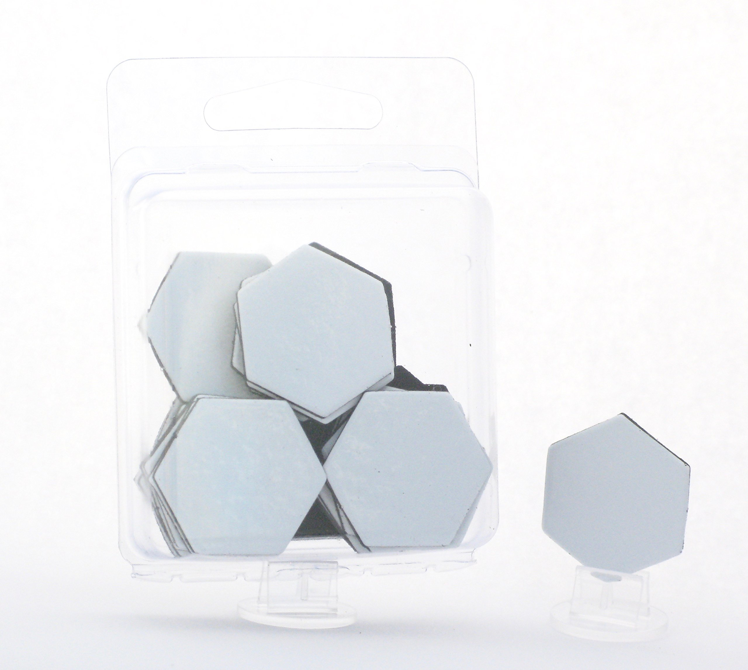 Value Pack of 24 - Dry Erase - Reusable - Blank 1'' Hexagon Hex Board Game Chits Tiles Counters Markers DIY D&D by Hedral