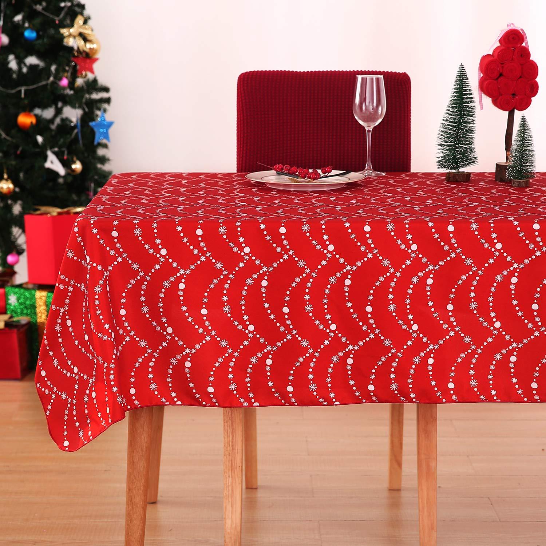 Deconovo Mantel Mesa Rectangular Mantel de Navidad Decoraci/ón Dibujo Collar 137 x 274 cm Rojo