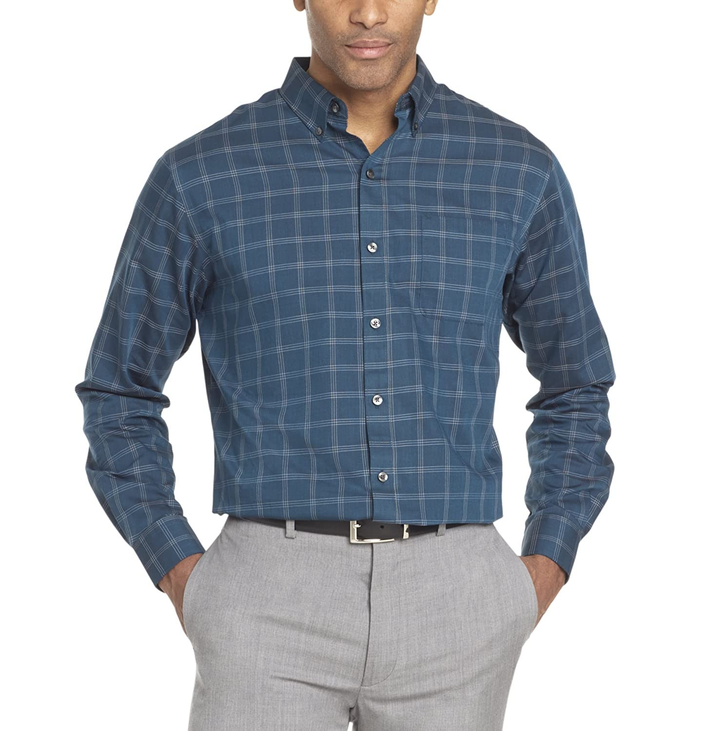 Van Heusen Men's Wrinkle Free Twill Long Sleeve Button Down Shirt 5025785