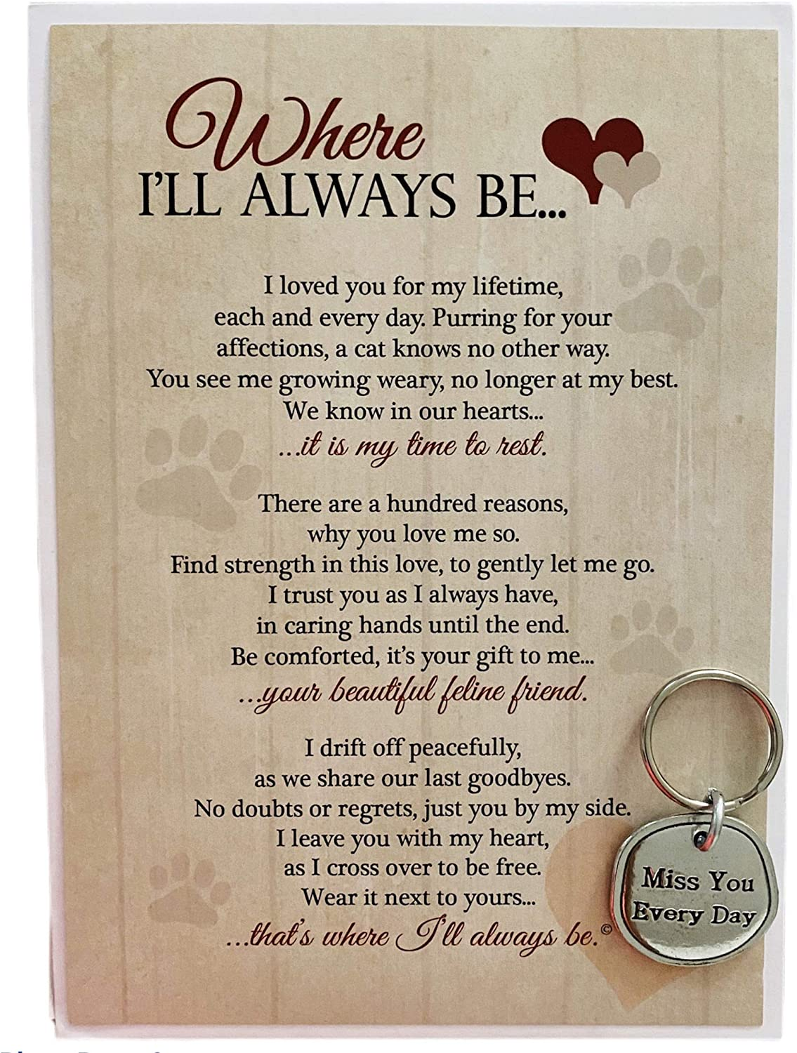 Where I'll Always Be Pet Loss Sentiment with Keychain - Heartfelt Pet Sympathy/Pet Memorial Gift