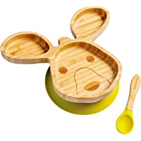 beaubaby® Kangaroo Bamboo Suction Plate for Babies and Toddlers with Silicone Suction and Baby Spoon for Self-Feeding