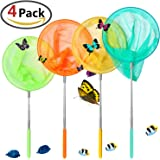 GeMoor 4Pcs Telescopic Butterfly Net Catching Insect Bugs Fishing Tool for Kids Toy Outdoors Extendable 34'' Inch