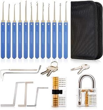 17 St/ück Profis und Pro-Schl/üsseldienst Deyard Lockpicking Set 17-teilig Transparent Trainings-Vorh/ängeschloss f/ür Verschluss-Auswahl-Set Extractor Clear Tool Kit f/ür Anf/änger
