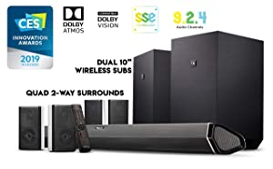 "Nakamichi Shockwafe Ultra 9.2.4Ch 1000W Soundbar System with Dolby Atmos, Dolby Vision, Dual 10"" Subs (Wireless) & Four 2-Way Rear Speakers"