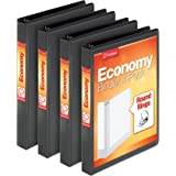 "Cardinal Economy 1"" Round-Ring Presentation View Binder, 3-Ring Binders, Holds 225 Sheets, Nonstick Poly Material, PVC Free, Black, 4-Pack (79512)"