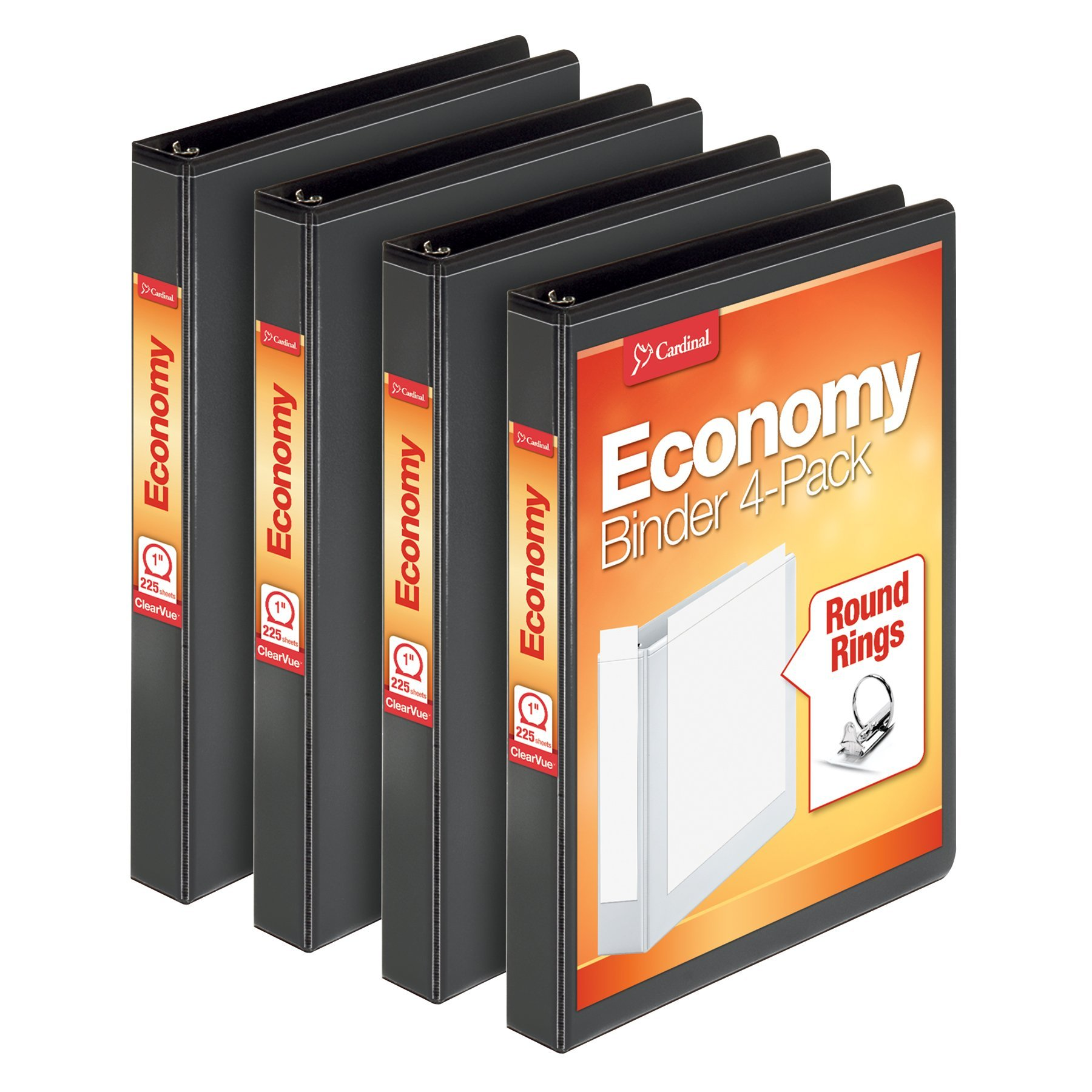Cardinal Economy 1'' Round-Ring Presentation View Binder, 3-Ring Binders, Holds 225 Sheets, Nonstick Poly Material, PVC Free, Black, 4-Pack (79512)