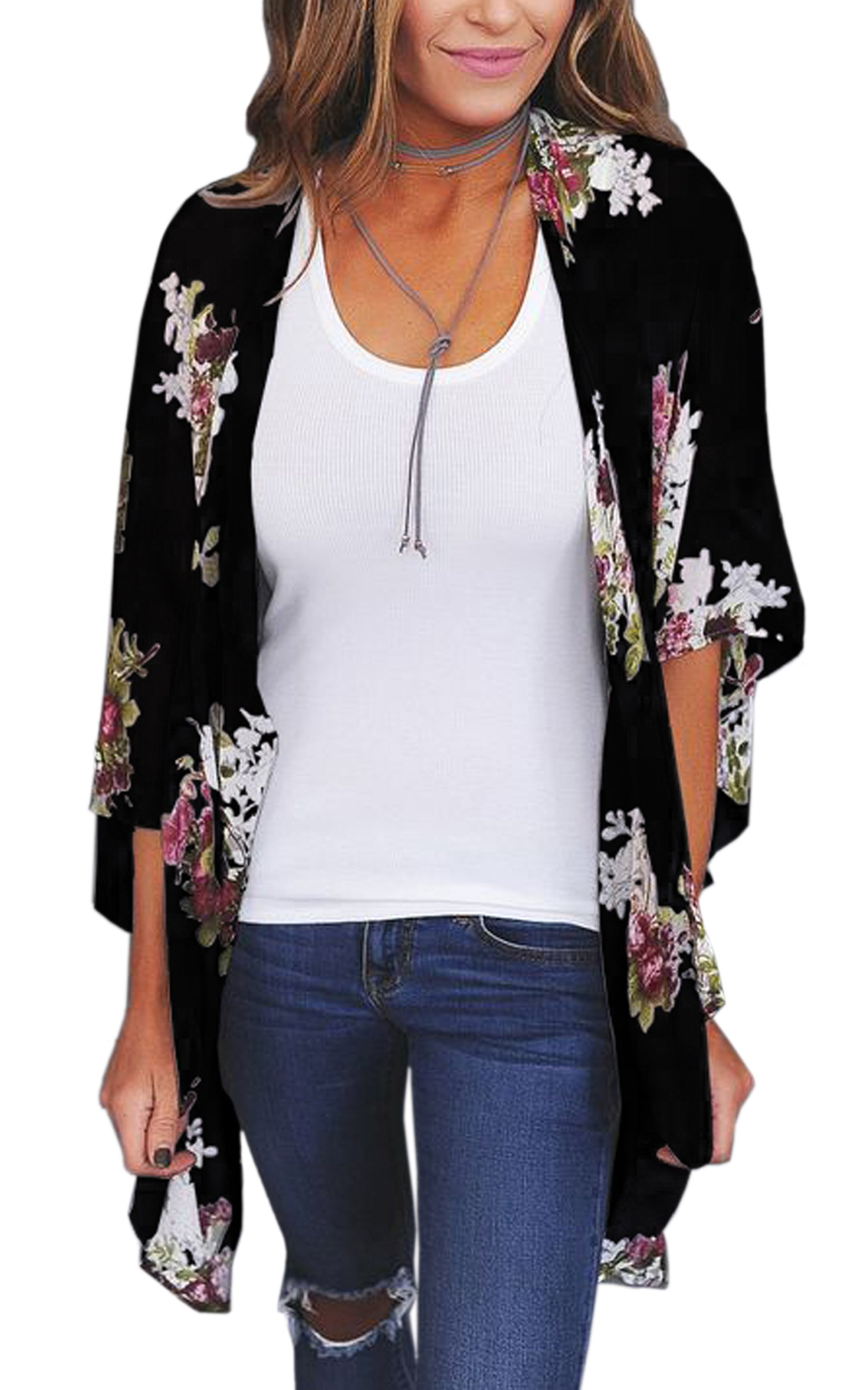 ECOWISH Womens Floral Print Loose Puff Sleeve Kimono Cardigan Lace Patchwork Cover Up Blouse D2003Black XL