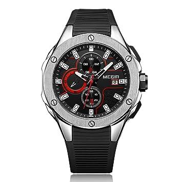 L.HPT Hombres Relojes Ofertas Marca, MEGIR Relojes De Moda Exquisita Dial Fecha Calendario, Reloj De Cuarzo Ejército Militar Relojes Hombres,Silver: ...