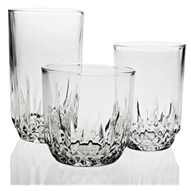 Glassware Drinking 18-Piece Set, Modern Designed Glasses, Use for Wine,Whiskey, Champagne, Beer, Water and Juice, Best and Unique Drinking Glasses Set, Restaurant-Style