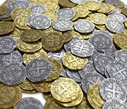 Pirate Treasure Metal Coins 32 Large Gold Silver Doubloon Coins Antique  Replicas Fantasy Party Supplies Decor Decorations By Well Pack Box