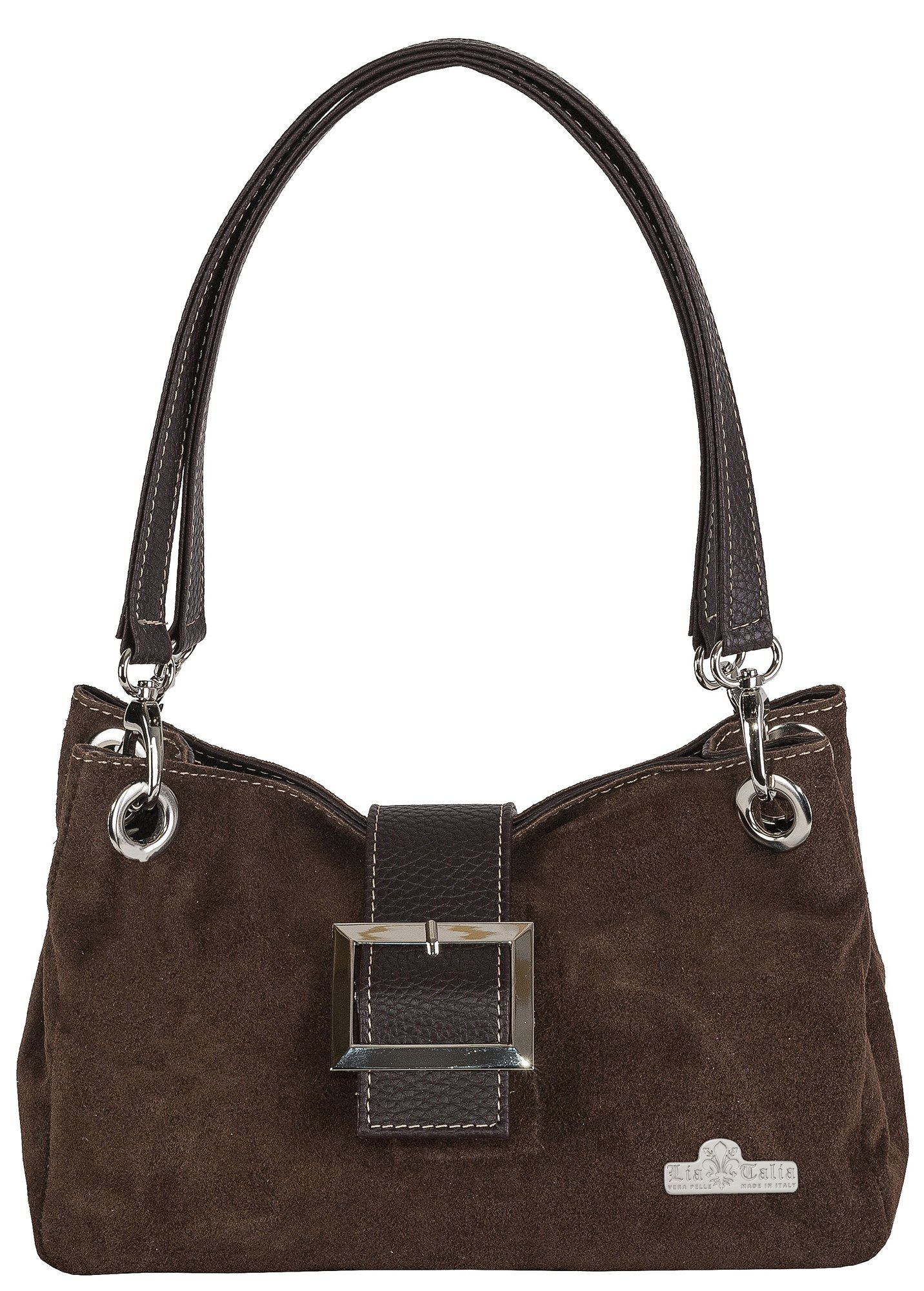 LiaTalia Real Italian Suede Small Leather Bag with Faux Trim Cotton Lining and a Protective Dust Storage Bag - Pixie [Dark Tan - Brown Trim]