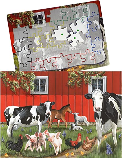 Games for Dementia and Alzheimers for Older Adults Keeping Busy Red Barn Farm 35 Piece Sequenced Jigsaw Puzzle Engaging Activities Puzzles