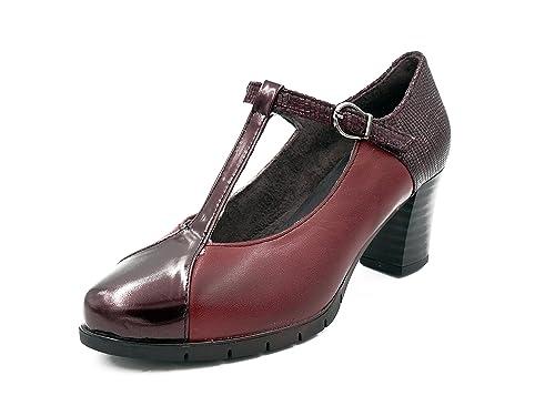 Zapatos cómodos mujer vestir con tacón PITILLOS - Piel colores disponibles negro o burdeos combinado con Charol - 1963 - 575 y 566 (41, negro)
