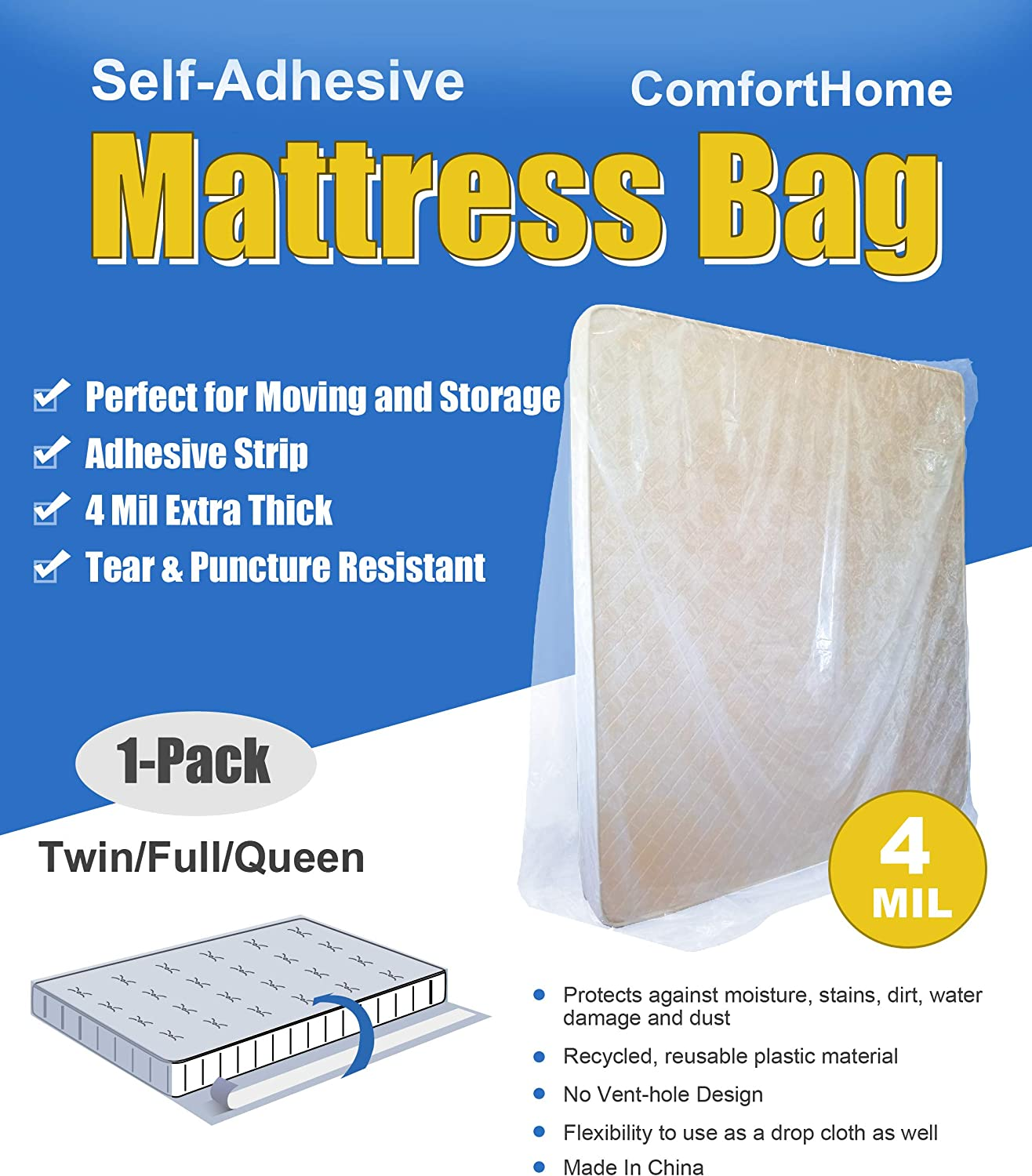 ComfortHome 4 Mil Extra Thick Sealable Mattress Bag with Adhesive Strip for Moving and Storage, Fits Twin, Full and Queen Size, 1 Pack