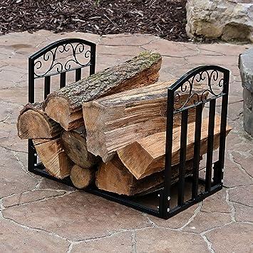 2ft Black Firewood Log Rack Heavy Duty Wood Storage Decorative Steel  Firewood Storage Indoor Outdoor Heavy