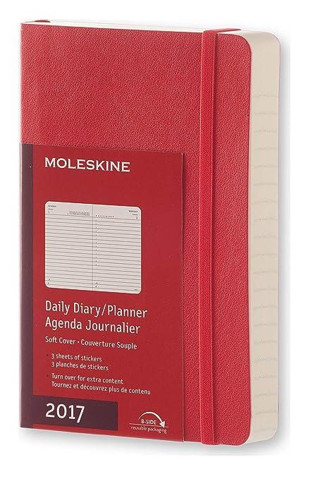 Moleskine DSF212DC2Y17 - Agenta diaria 12 meses, pocket 9 x 14, color rojo