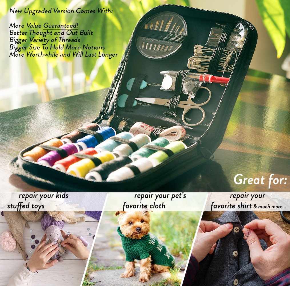 Sewing KIT Highly-Rated Mini Sew Kit for Travel Trips Multicolored 1, Bundle-SK-BL/&ST Mending Supplies /& Accessories Clothing Repairs at Home /& in The Office Tackle Any Fashion Emergency