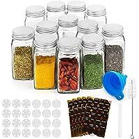RUBY Kruidenpotjes Vierkant Glas Spice Jars Set Kruidenpotjes Kork 12 Stuks 120ml Kruidenpotjes Glas Vierkant Voor…