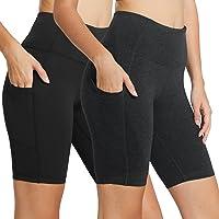"Baleaf Women's 8"" / 5"" High Waist Workout Yoga Running Compression Shorts Tummy Control Side Pockets"
