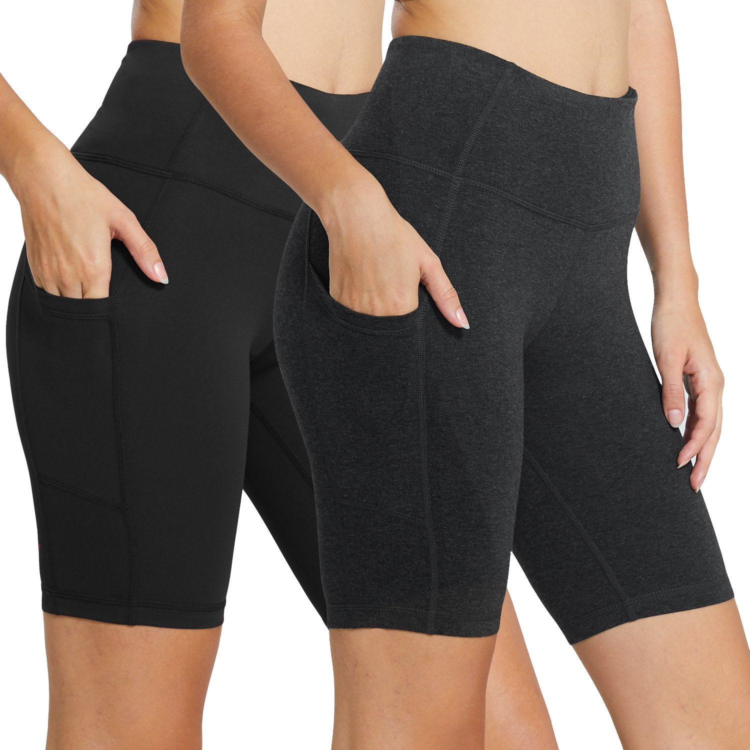 BALEAF Women's 8'' High Waist Tummy Control Workout Yoga Shorts Side Pockets 2-Pack Black/Charcoal Size M