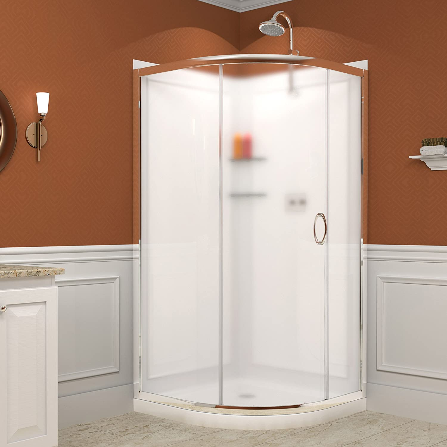 DreamLine Solo 31 3 8  by Frameless Sliding Shower Enclosure Base and QWALL 4 Backwall Kit DL 6155 01FR Doors Amazon com