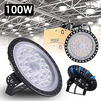 Yuanline 100W UFO Iluminación LED Alta, Lámpara Industrial Ultra Delgada,Lámpara Industrial de Blanco