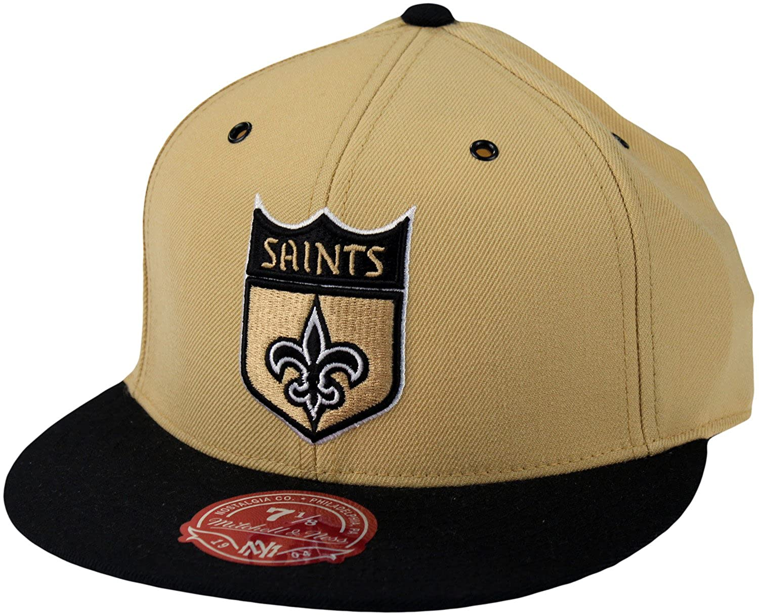 new product 5ee0f 2ecf8 Amazon.com  New Orleans Saints NFL Mitchell   Ness, 2 Tone Shield Logo Hat,  TT26M, Gold   Black  Clothing