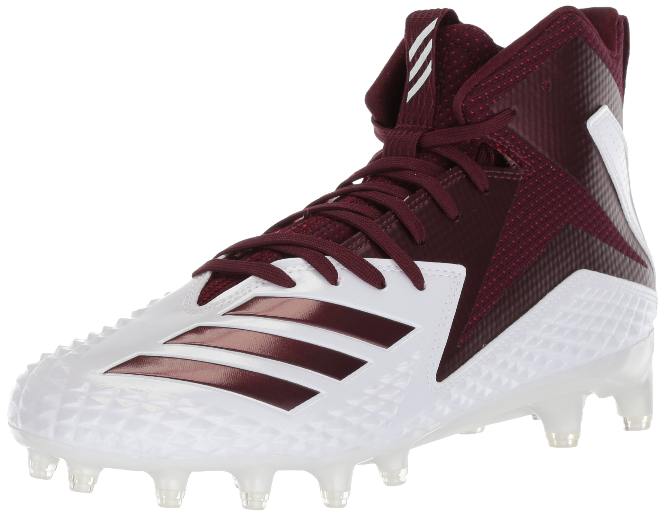 adidas Men's Freak X Carbon Mid Football Shoe, White/Maroon/Maroon, 12 M US