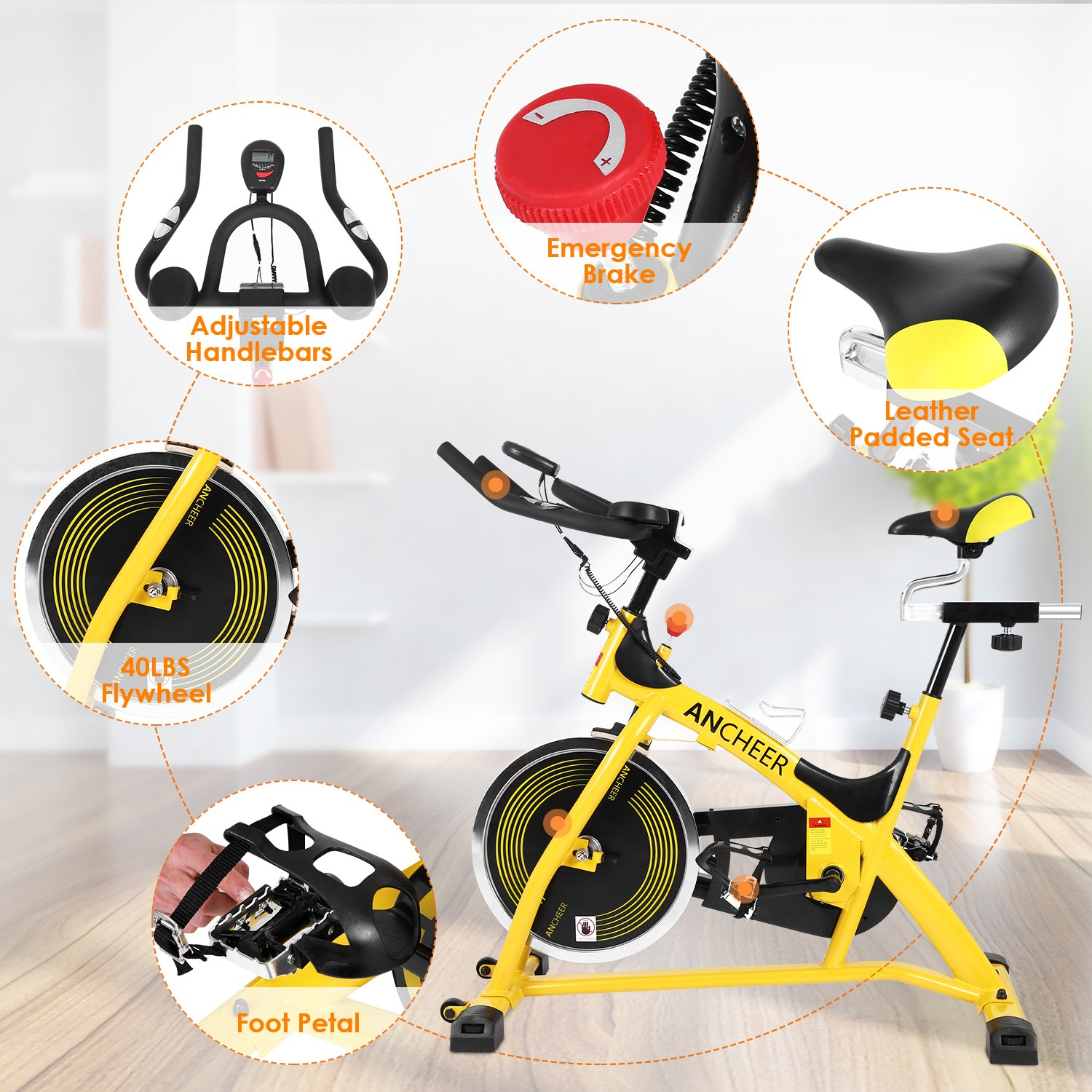 ANCHEER Stationary Bike, 40 LBS Flywheel Belt Drive Indoor Cycling Exercise Bike with Pulse, Elbow Tray (Model: ANCHEER-A5001) (Yellow) by ANCHEER (Image #6)