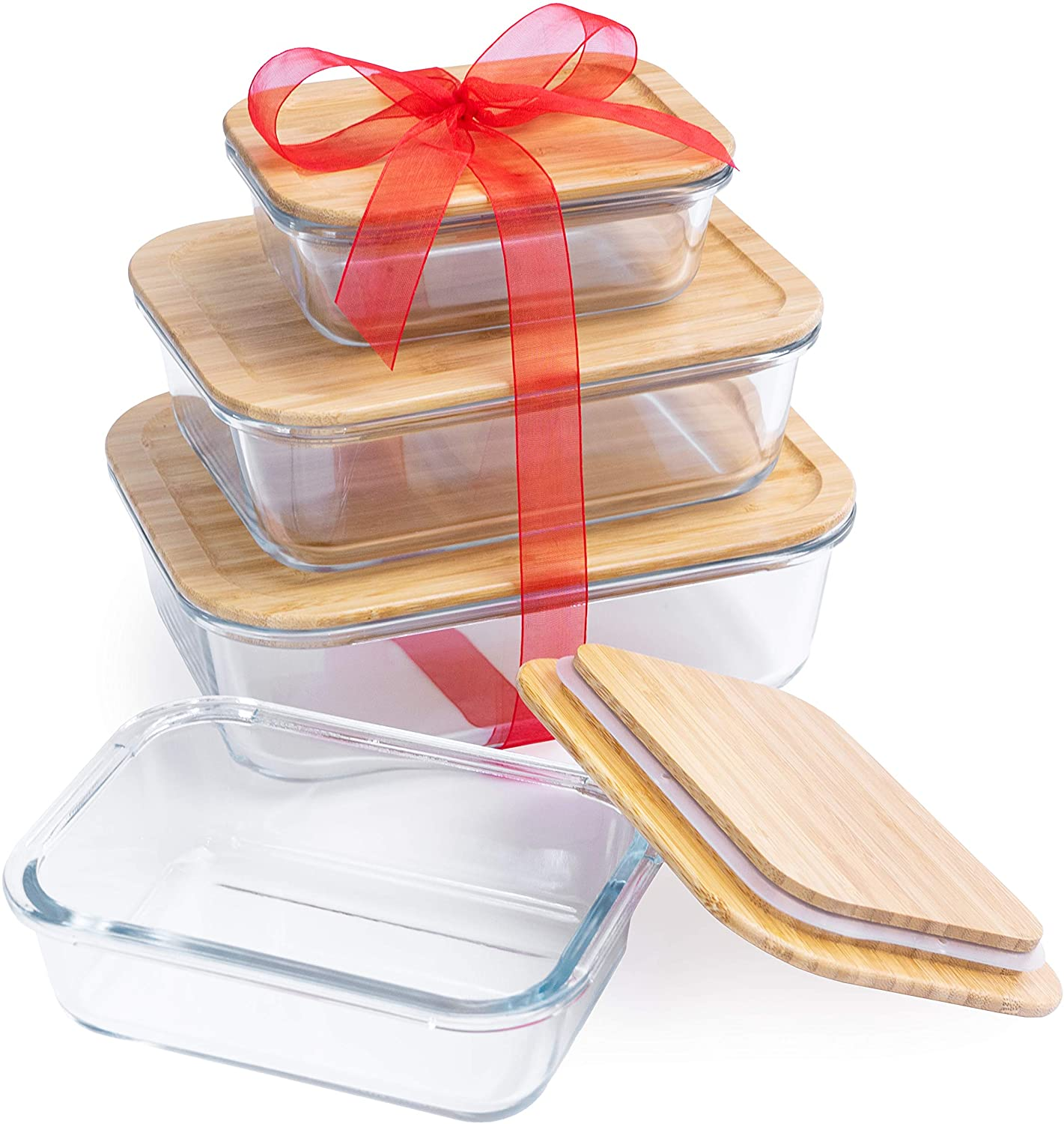 Tenzo Glass Food Storage Containers with Bamboo Lids - Eco Friendly Glass Meal Prep Container for Kitchen Food Storage with Airtight Eco Lids and Nesting Glass Food Containers (Set of 4)