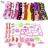 iDream 10pcs Doll Dress & 50pcs Doll Accessories (Combo Pack) Compatible with Barbie Doll