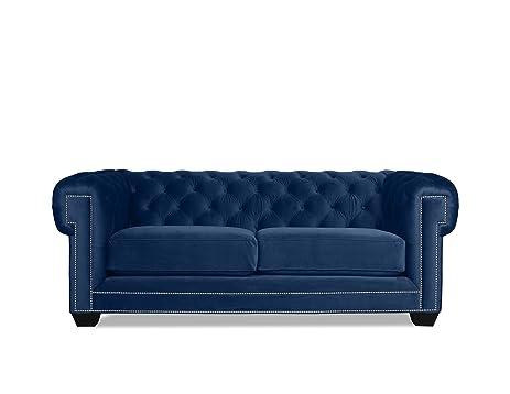 Merveilleux South Cone Home William Velvet Tufted Sofa, 72u0026quot;, Blue Velvet