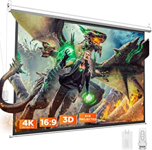 BOMAKER Motorized Projector Screen, 4K HD Video Projection Screen, Eye Protected 3D Electric Movie Screen 100'', Wrinkle Free, 16:9, Wireless Remote, Use for Indoor/Outdoor Home Movie Theater