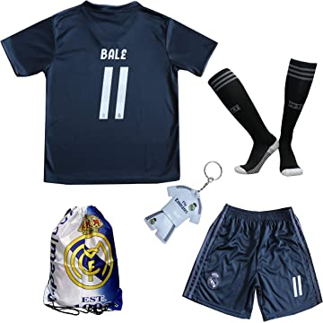 a3883c1c7 GamesDur 2018 2019 Real Madrid Bale  11 Away Black Football Soccer Kids  Jersey
