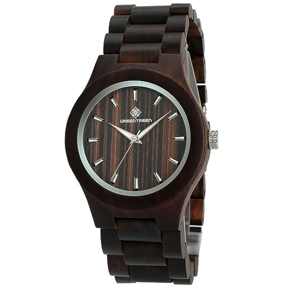 GREENTREEN Reloj de madera de sándalo negro para los hombres