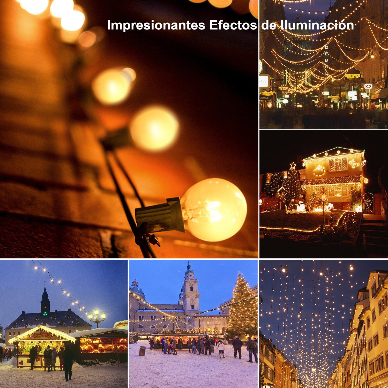 Guirnalda Bombillas Exteriores Luminosas - Glamouric 7,4m Cadena de Luz, Perfectas para Decorar Halloween, Navidad, Festivales, Fiestas, Bodas, Cobertizos, ...