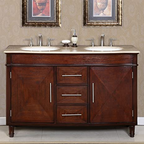 Silkroad Exclusive Travertine Stone Top Double Sink Bathroom Vanity With  Furniture Cabinet, 55 Inch